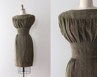 vintage 1950s lurex dress // 50s gold spun wiggle dress