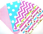Clearance Bundle of Fun Baby Duck Stripe and Bright Matching Print Flannel Fabric Fat Quarter Four Pack