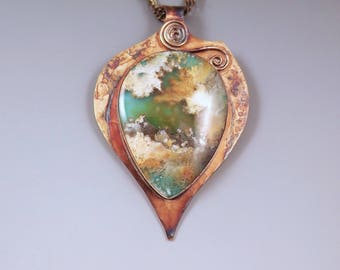 Regency Plume Agate and Turquoise- Earth Pendant- Merlin's Gold- Rainbow Patina- Boho Chic- Agate Necklace