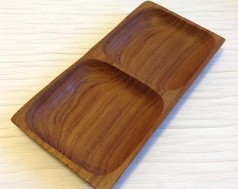 Teak Wood 2 Section Serving Tray.   Vintage Mid Century, Scandinavian Modern. Vintage 1960