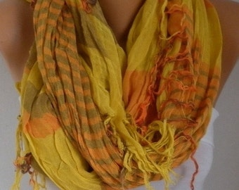 ON SALE --- Mustard&Orange Plaid Scarf Soft Winter Accessories Oversize Tartan Scarf Shawl Cowl Scarf Cotton Scarf Gift Ideas For Her Women