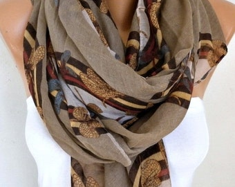 ON SALE --- Milky Brown DRAGONFLY Printed Cotton Scarf, Shawl, Cowl Oversized Wrap Gift Ideas For Her Women Fashion Accessories,Christmas Gi