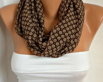 ON SALE --- Brown Chiffon  Infinity Scarf,Fall Scarf,Cowl,Circle Scarf Loop Scarf  Gift Ideas For Her,Women Fashion Accessories