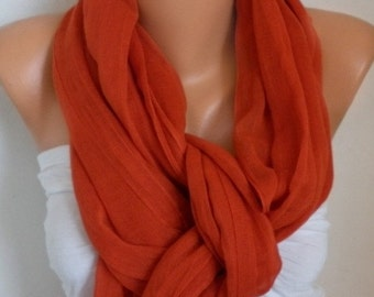 ON SALE --- Burnt Orange Cotton Scarf, Summer Scarf, Birthday Gift, Cowl Bridesmaid Bridal Accessories Gift Ideas for Her Women Fashion Acce