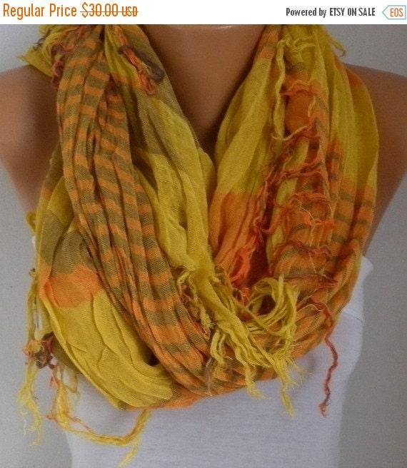 ON SALE --- Mustard&Orange Plaid Scarf Soft Winter Accessories Oversize Tartan Scarf Shawl Cowl Scarf Cotton Scarf Gift Ideas For Her Women