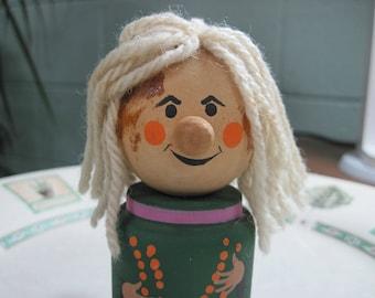 "Vintage Scandinavian Handmade Wooden Woman Folk Figure Gnome Doll 7758 Yarn Hair 4"" Tall"