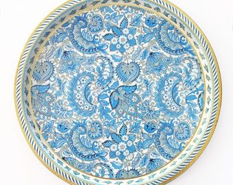 Mid Century Blue and Gold Metal Tray - Vienna Woods Tray - Vintage Round Serving Tray in Blue Paisley Design with Gold Rim - Tin Bar Tray