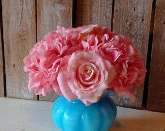Small Everyday Flower Arrangement, Short Spring and Summer Pink and Blue Life Like Silk Roses and Hydrangeas, Vintage, Mother's Day