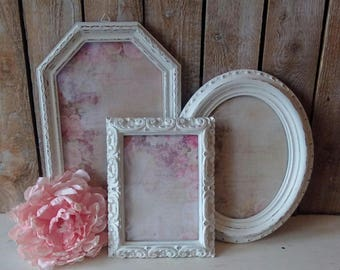 Antique Picture Frames, Set of Vintage Frames with Glass, Painted White frames, Frame Grouping, Shabby Cottage, French Provincial