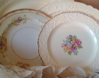 Vintage China Collection, Miss Matched Plates and Platters, Floral Design, Shabby Cottage, Steubenville, Wall Decor, Plate collage