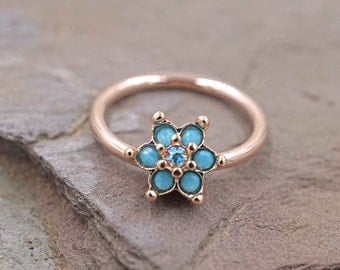 14kt Rose Gold Hoop Turquoise Flower Cartilage Conch Daith Rook Septum Ring
