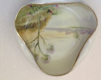 Hand Painted Nippon Candy Dish Tid Bit Bowl Triangle / Round Nippon dish windmill river landscape - At Everything Vintage shipping is on us!