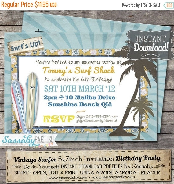 ON SALE Vintage Surf Birthday Party Invitation - INSTANT Download - Editable & Printable Beach, Pool, Summer Party Invitations by Sassaby Pa