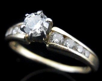 Diamonds 14k Yellow Gold Engagement Ring Estate Bridal Wedding Estate Jewelry