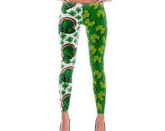 St Patricks Day Leggings - Four Leaf Clover - Lucky Charm - Festive leggings - Funky Leggings - Ladies and Teen - Womens Leggings - Bold