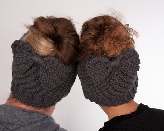 Mommy and Me Messy Bun Beanie - Beanie Set - Mommy and Me - Matching Hats - Bun Beanie with Bow - Ponytail Hat - Toddler Bun Beanie