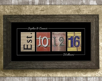 Rustic Wedding Gift Barn Wood Decor Wedding Date Gifts Established Date Sign Anniversary Gift Wedding Gift for Bride Personalized Gift