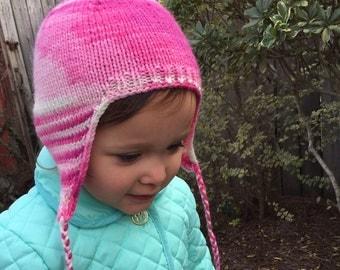 Pink Earflap Hat, pink, toddler, baby, beanie, merino wool, girl, pom pom