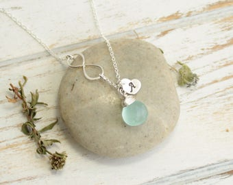 Sterling Silver Infinity Birthstone Necklace... Choose The Birthstone and Initial