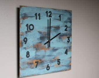 Urban, rusty Industrial Metal Wall Clock. Teal. Green. Blue. Abstract. Distressed. Minimalist. Art. Decor.  Functional Art. Rust