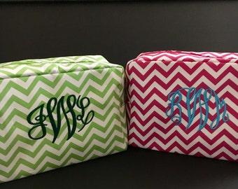 SALE! New Chevron Microfiber Cosmetic Bag Monogrammed Great Gift SALE!