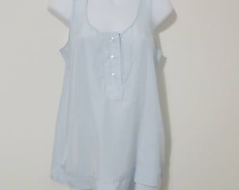 Vintage aqua blue silk blouse - size small