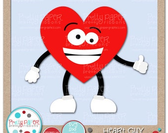 Heart Guy Cutting Files & Clip Art - Instant Download