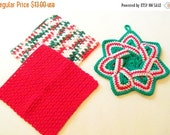 End of Year Sale Dishcloths and Potholder Set - Christmas - Set of 2 Hand Crocheted Dishcloths and Coordinating Potholder