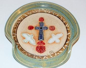 Handmade Cross Pottery Spoon Rest