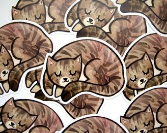 Sleeping Tabby Kitten Sticker -  Vinyl Stickers / Striped Cat Gift / Laptop Sticker / Illustrated Tabby Cat / Large Cat Sticker / Die Cut