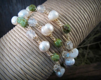 Crochet Bohemian Wrap, necklace or bracelet with fire polished beads and pearls - Boho Indie