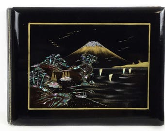 Antique photo album, Black laquer photo album, Vintage oriental album, Mother of Pearl, Vintage scrapbook Japanese