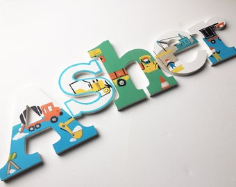 Construction Vehicles Wooden Wall Name Letters / Hangings, Hand Painted for Boys Rooms, Play Rooms Nursery Rooms / Construction Nursery Art
