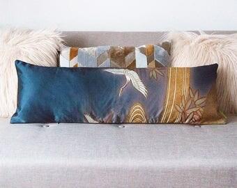 Blue Cushion in Vintage Silk, Upcycled Japanese Kimono Luxury Lumbar Pillow, Wedding Gift, Anniversary Gift, Chocolate Velvet Cushion, CRANE