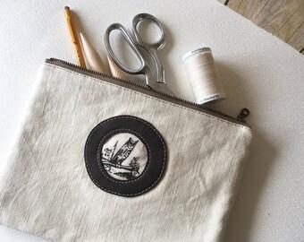 Night Owl Tool Bag, Linen Handprinted Zipper Pouch