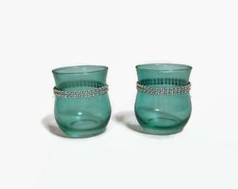 Set Two Teal Votive Holders, Teal With Bling Votive Holders, Candle Holders, Home Decor, Wedding Decor, Candle Decor