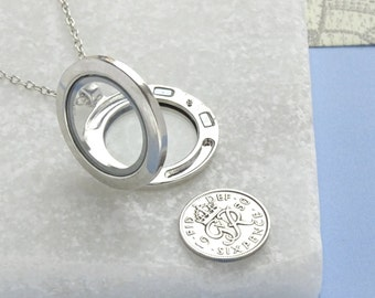 Sixpence Locket Necklace 1928 - 1953 Birthday, Anniversary or Good Luck Charm