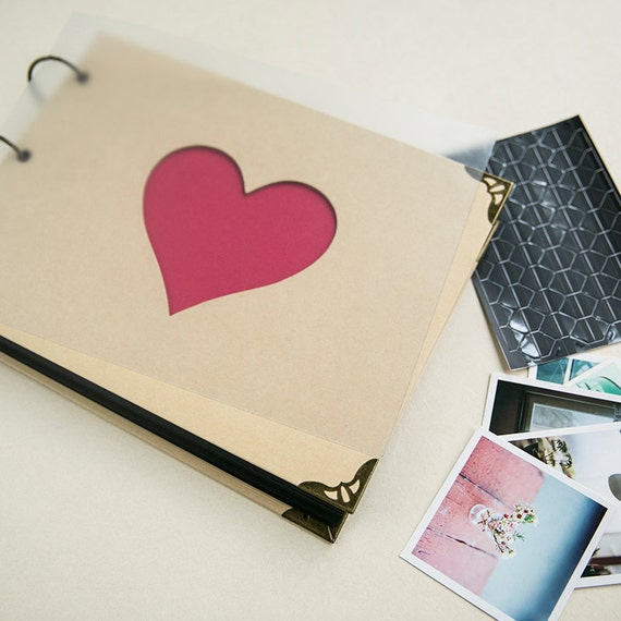 Heart Cut Out Ring Binder Photo Album/ DIY Scrapbook By