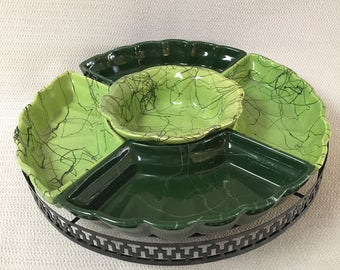 Marcia of California Pottery Green Lazy Susan Server with Metal Turning Rack