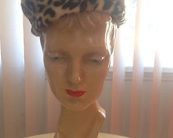 Faux Leopard Fur Beret Pill Box Hat High Quality Vintage USA
