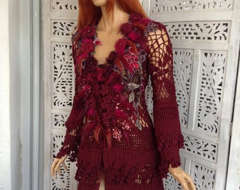 RESERVED sexy dress handmade silk crochet lace frills dress embroidered romantic dreamy sexy fashion design in wine red by golden yarn
