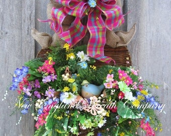 ON SALE Spring Wreath, Valentine's Wreath, Heart Wreath, Floral Wreath, Summer Wreath, Garden Wreath, Floral Wall Bouquet, Country French Wr