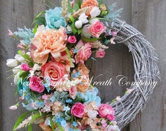 ON SALE Floral Wreath, Summer Floral Wreath, Elegant Floral Wreath, Designer Wreath, Country French Wreath, Victorian Wreath, Mother's Day G