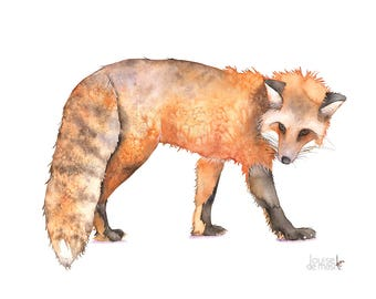 Fox print of watercolor painting, A4 print, F21217, Fox watercolor painting print, Woodland animal print, art for baby, Fox painting