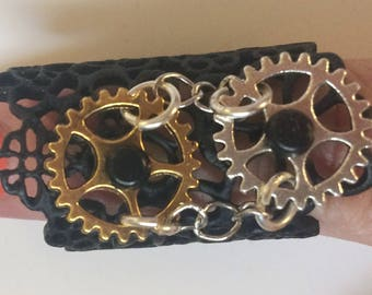 Black Metal Steampunk Ring with Watch Parts