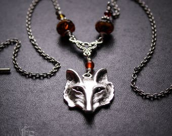 Fox Mask Necklace. Woodland Animal. Fox Fire Totem Necklace Kitsune