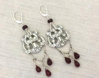 Long Chandelier Rhinestone Earrings - Rhinestone Dangle Earrings - Upcycled Rhinestone Garnet Earrings, Statement Earrings OOAK Gift for Her