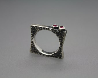 Ruby Ring, July Birthstone, Textured Ring, Square Ring, Silver Ruby Ring, Ruby Jewelry, Unique Ring, Gemstone Ring, Silver Ruby, Square Ring