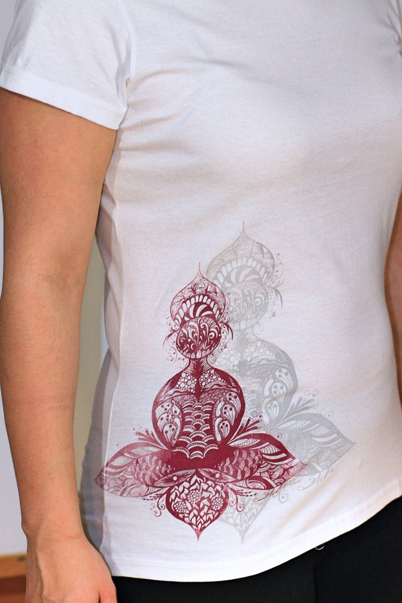 Red Lotus Yoga Ladies Organic T-shirt  white