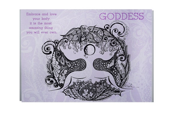 YOGA Card GODDESS Pose  - 5x7 from Original Ink Drawing, Home Decor, Yoga Studio Decor